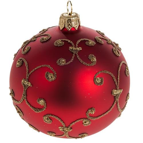 Pallina albero Natale rossa decori oro 8cm 1
