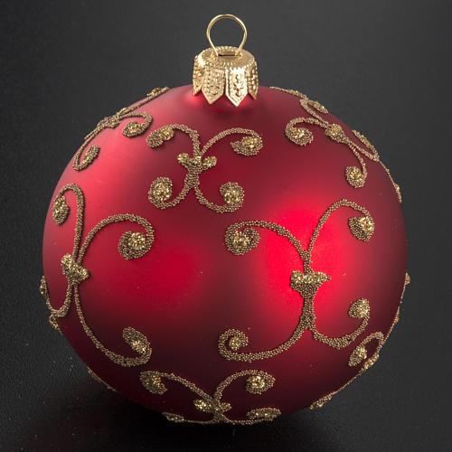 Pallina albero Natale rossa decori oro 8cm 2