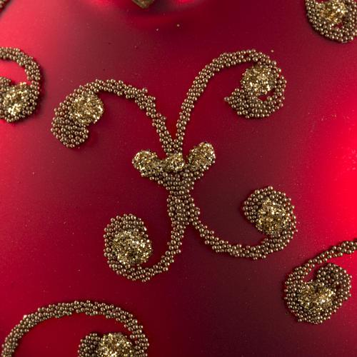 Pallina albero Natale rossa decori oro 8cm 3