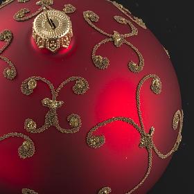 Pallina albero Natale vetro rossa decori oro 10cm s4