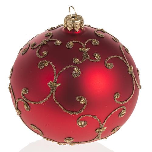 Pallina albero Natale vetro rossa decori oro 10cm 1
