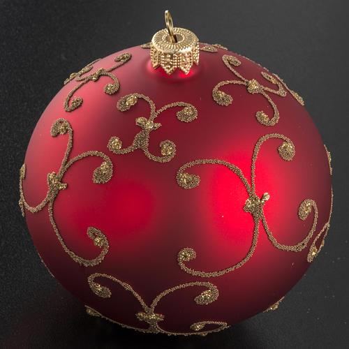 Pallina albero Natale vetro rossa decori oro 10cm 2