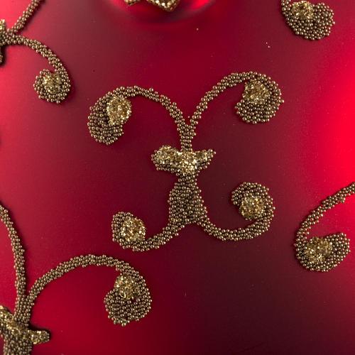 Pallina albero Natale vetro rossa decori oro 10cm 3