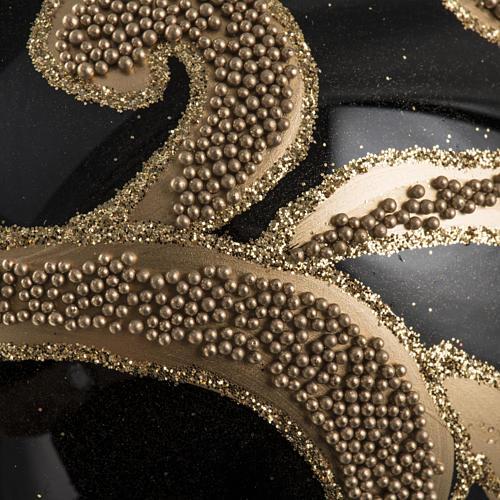 Boule de Noel verre noir décors or 10cm 3