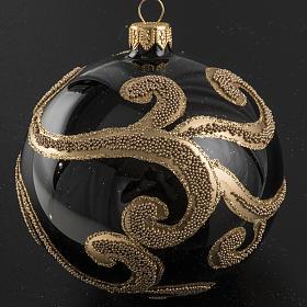 Pallina albero Natale vetro nero decori oro 10 cm s2