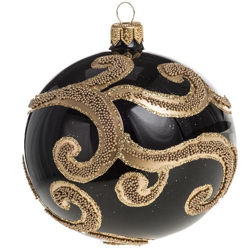 Pallina albero Natale vetro nero decori oro 10 cm 1
