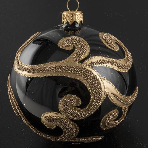 Pallina albero Natale vetro nero decori oro 10 cm 2