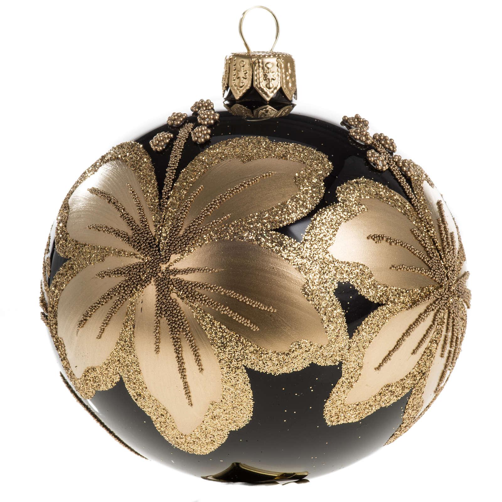 Pallina albero Natale vetro nero decori fiori oro 8cm 4