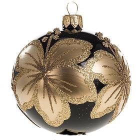 Pallina albero Natale vetro nero decori fiori oro 8cm s1