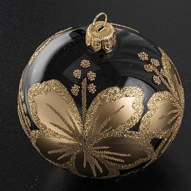 Pallina albero Natale vetro nero decori fiori oro 8cm s2