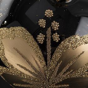 Pallina albero Natale vetro nero decori fiori oro 8cm s3