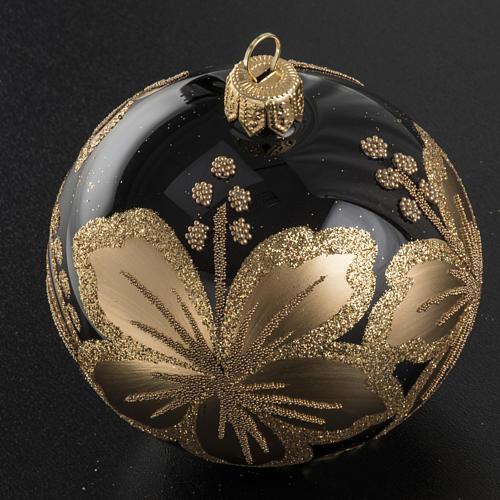 Pallina albero Natale vetro nero decori fiori oro 8cm 2