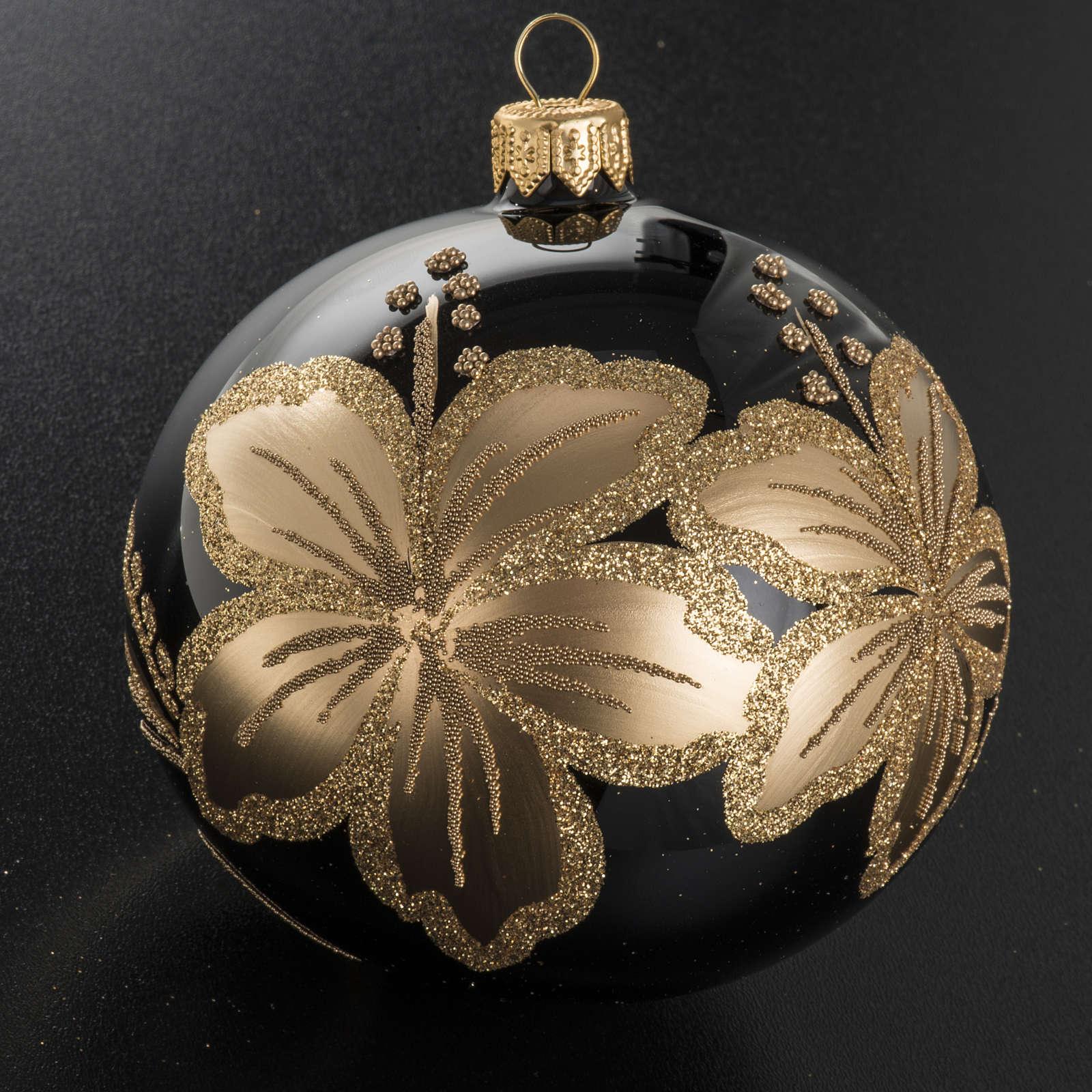 Pallina albero Natale vetro nero decori fiori oro 10cm 4