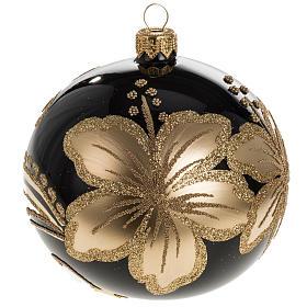 Pallina albero Natale vetro nero decori fiori oro 10cm s1