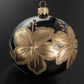 Pallina albero Natale vetro nero decori fiori oro 10cm s2