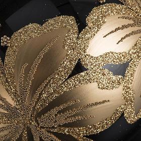 Pallina albero Natale vetro nero decori fiori oro 10cm s3