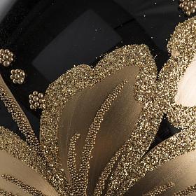 Pallina albero Natale vetro nero decori fiori oro 10cm s4