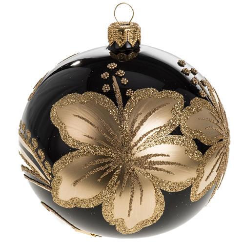 Pallina albero Natale vetro nero decori fiori oro 10cm 1