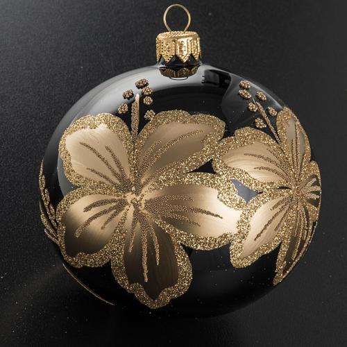 Pallina albero Natale vetro nero decori fiori oro 10cm 2
