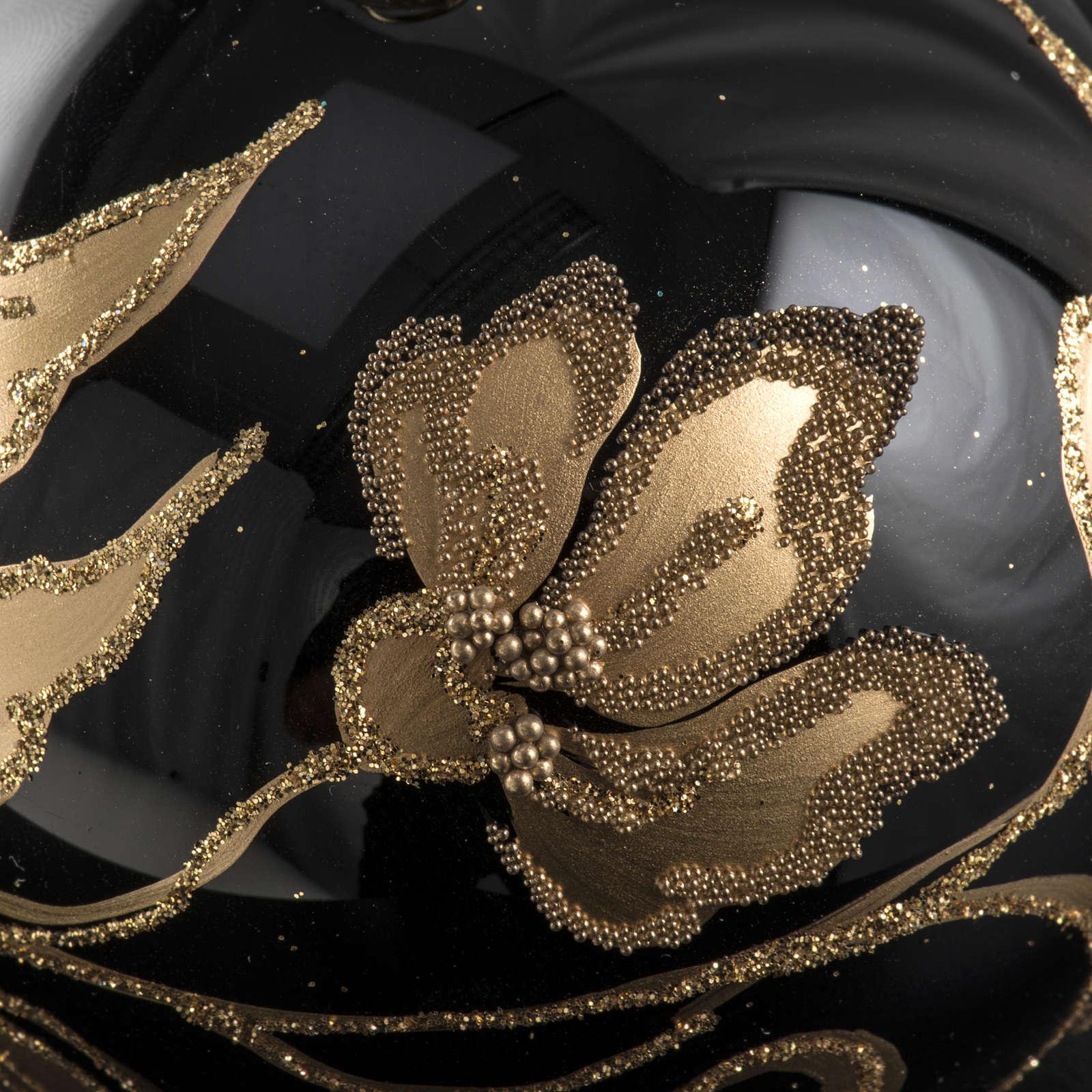 Pallina albero Natale vetro nero fiori oro 8cm 4