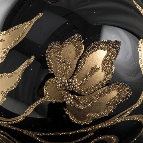 Pallina albero Natale vetro nero fiori oro 8cm 3