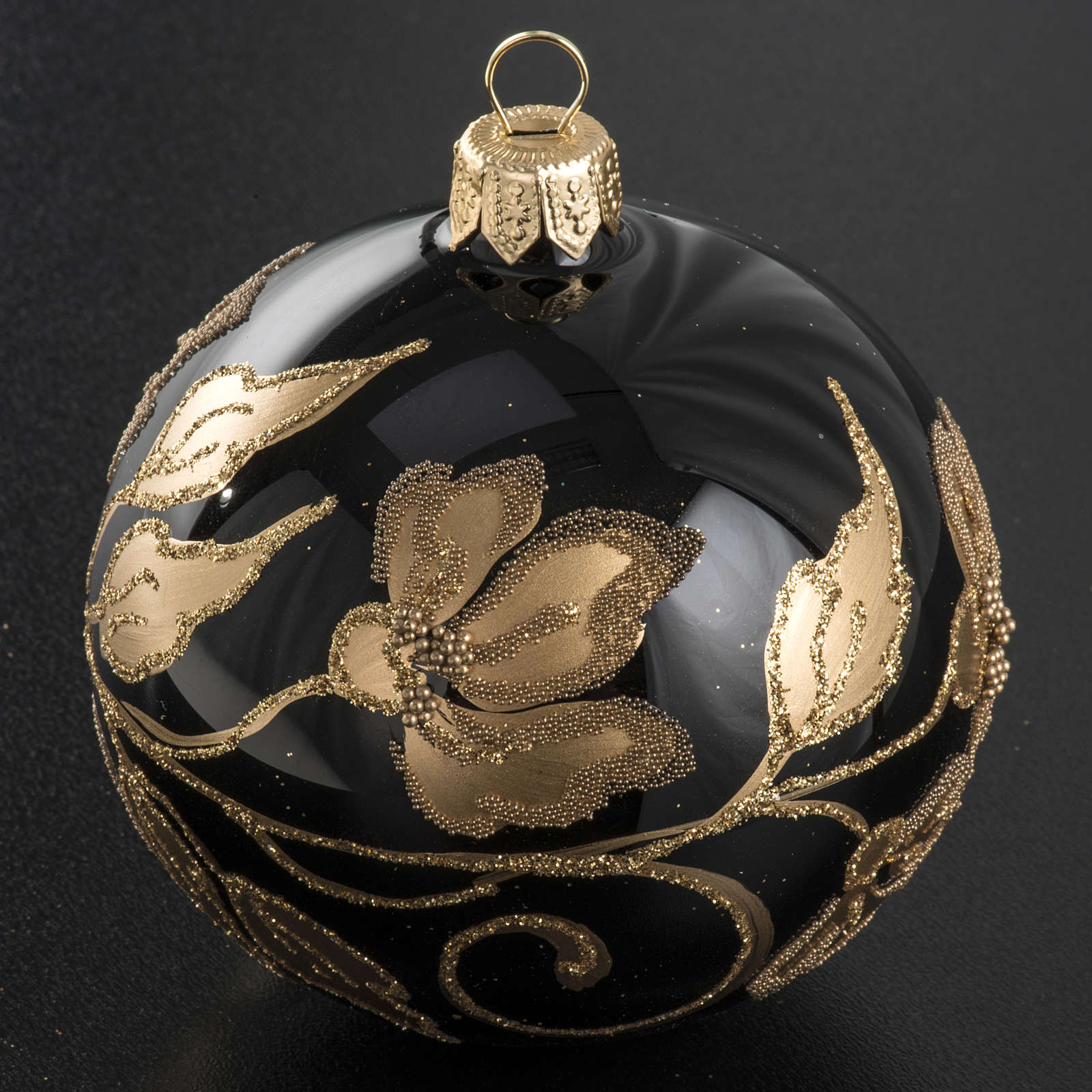 Christmas bauble, black glass with gold floral decorations, 8cm 4