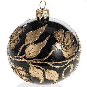 Christmas bauble, black glass with gold floral decorations, 8cm s1