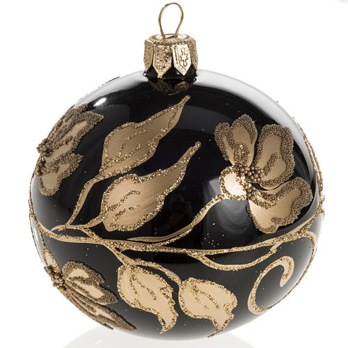Christmas bauble, black glass with gold floral decorations, 8cm 1