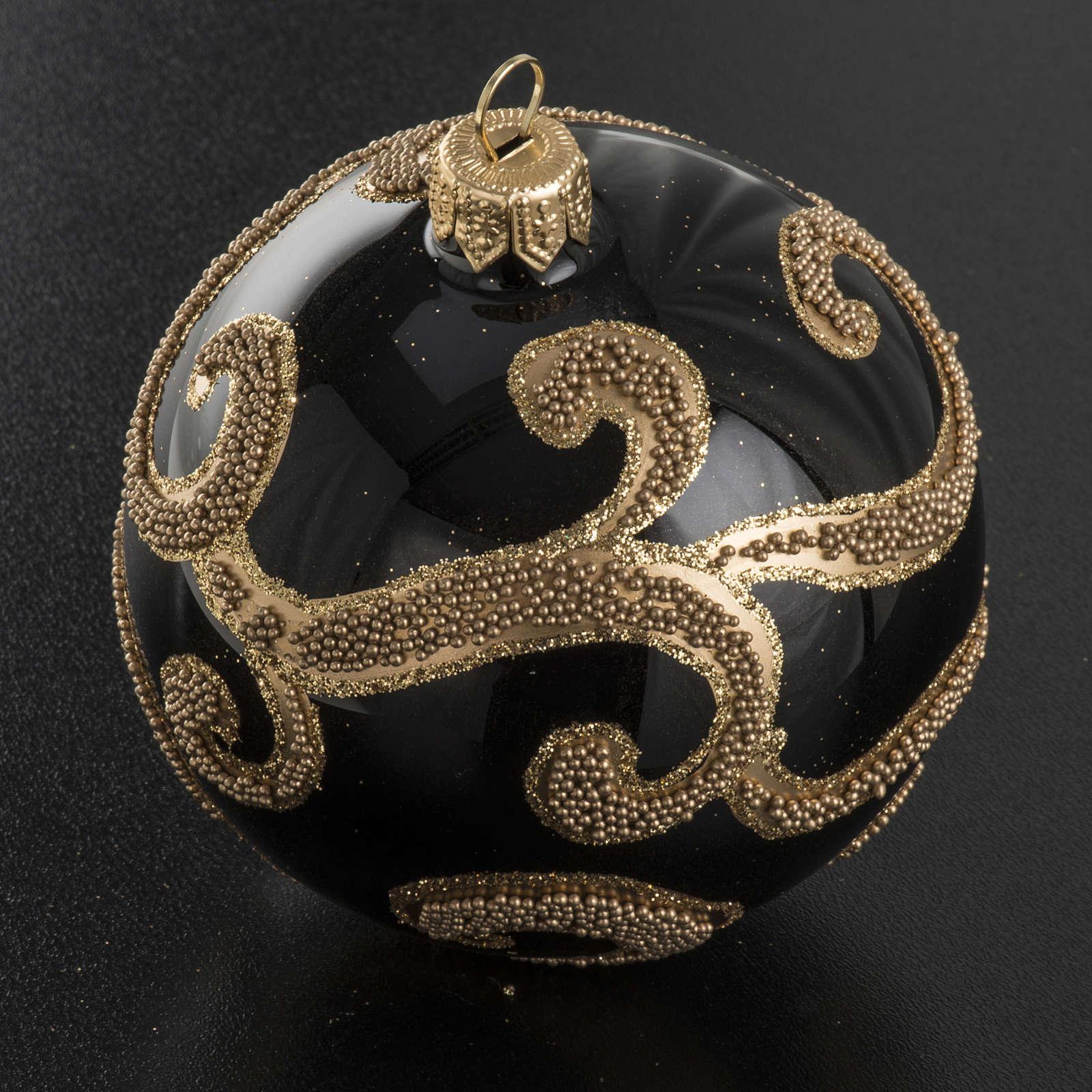 Boule de Noel verre noir glitter or 8cm 4
