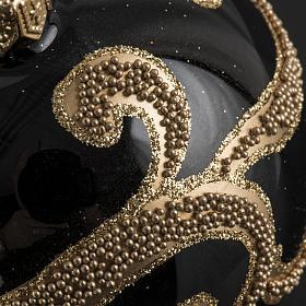 Boule de Noel verre noir glitter or 8cm s3