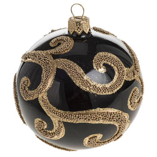 Boule de Noel verre noir glitter or 8cm 1
