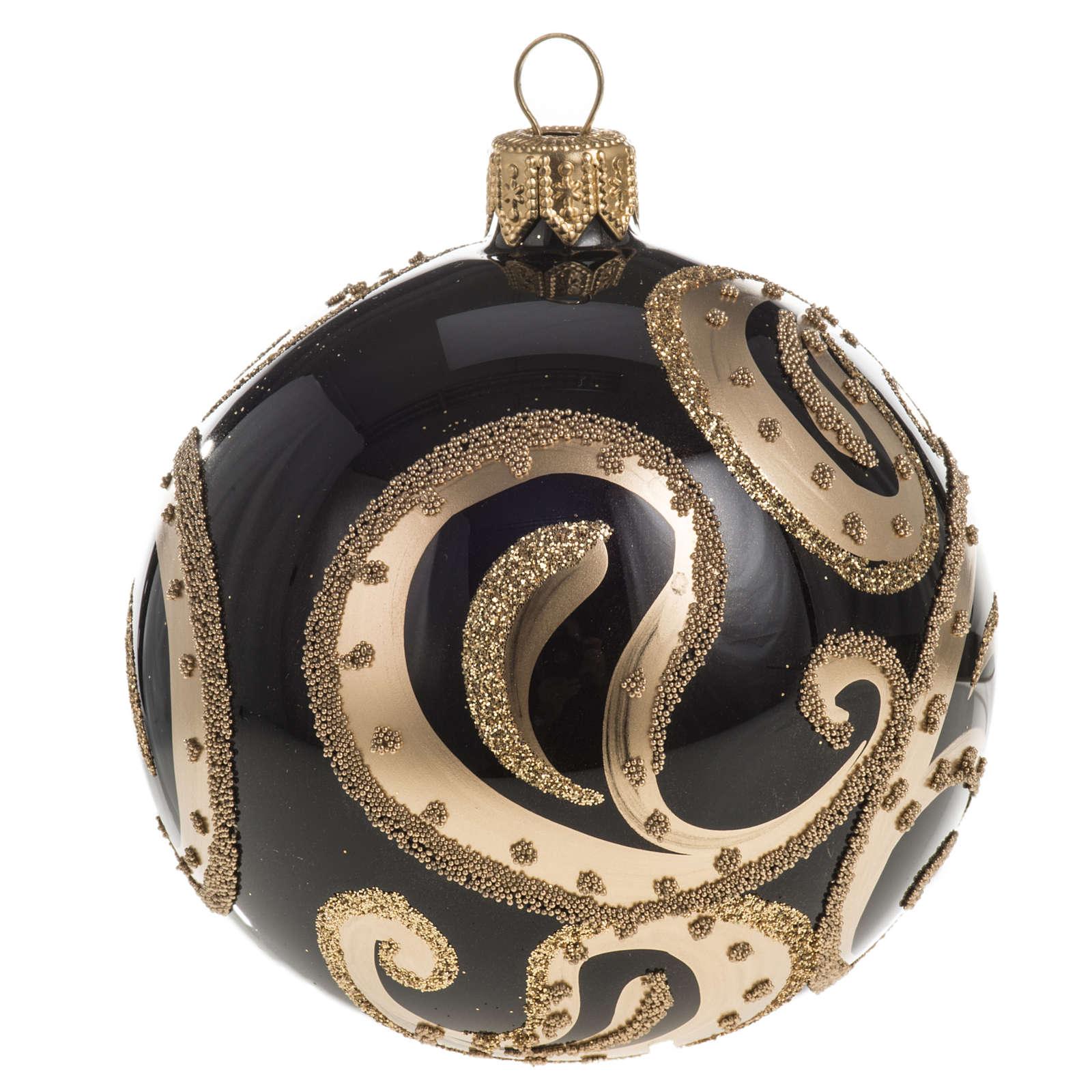 Pallina albero Natale vetro nero ricami dorati 8cm 4