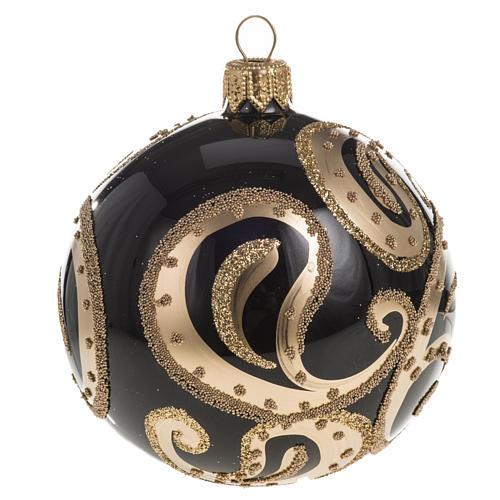 Pallina albero Natale vetro nero ricami dorati 8cm 1