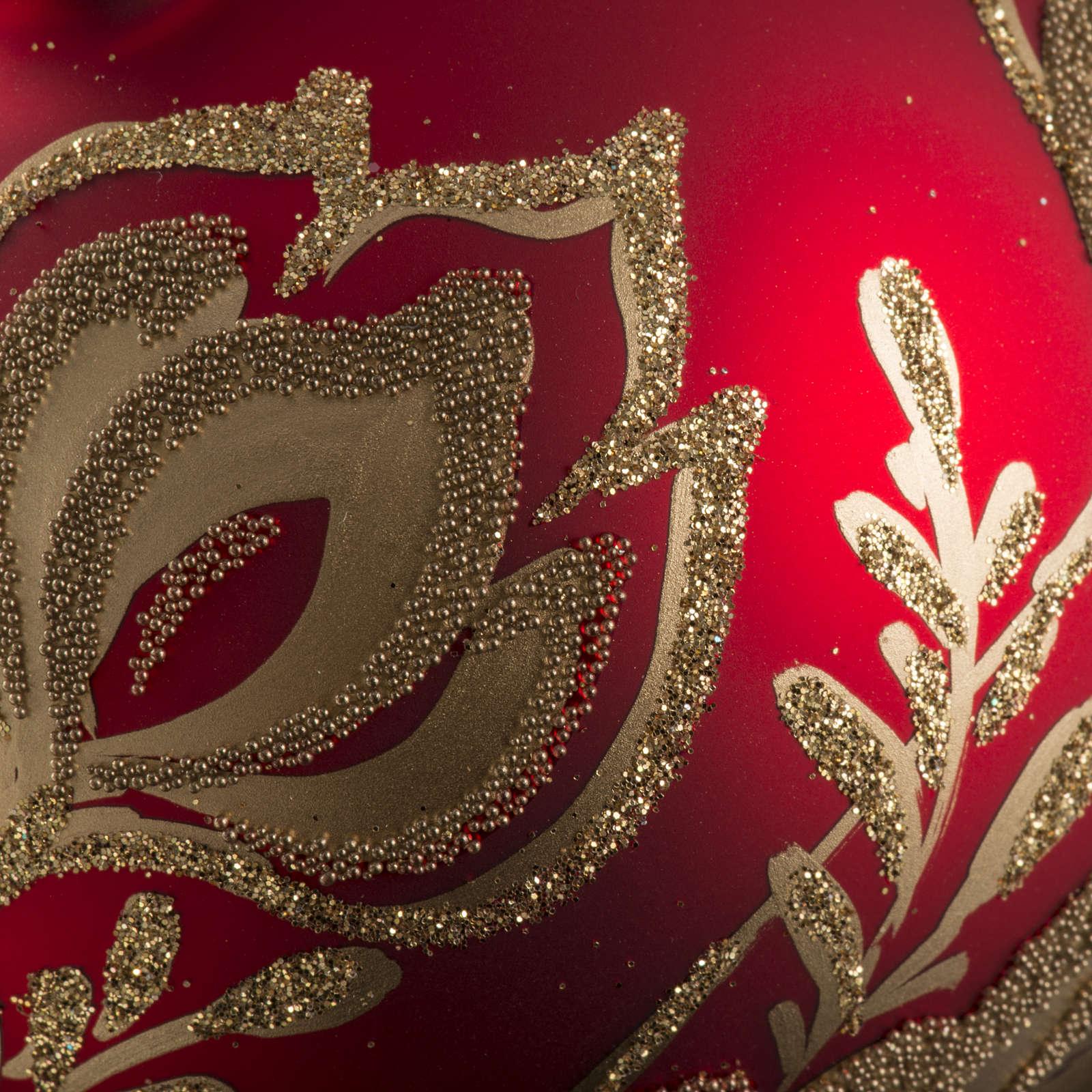 Pallina albero Natale rossa vetro fiori oro 8 cm 4
