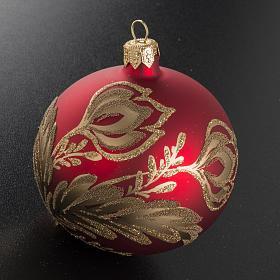 Pallina albero Natale rossa vetro fiori oro 8 cm s2
