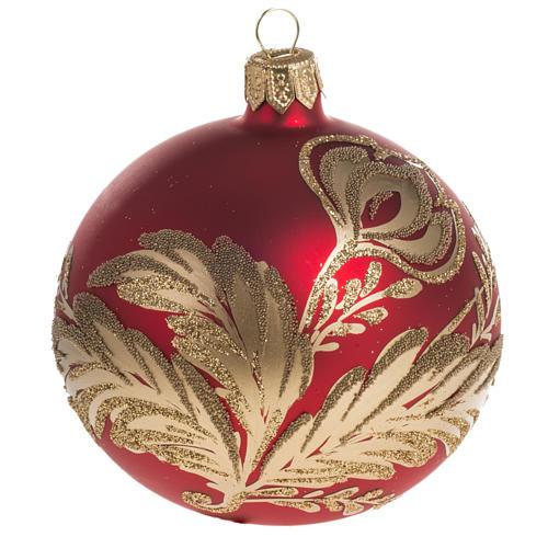 Pallina albero Natale rossa vetro fiori oro 8 cm 1