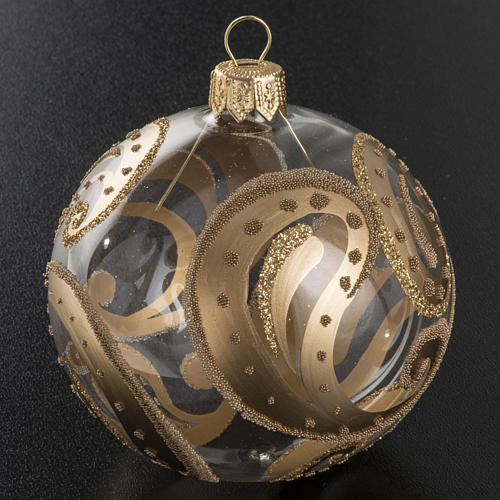 Christmas bauble, transparent glass with golden drops, 8cm 2