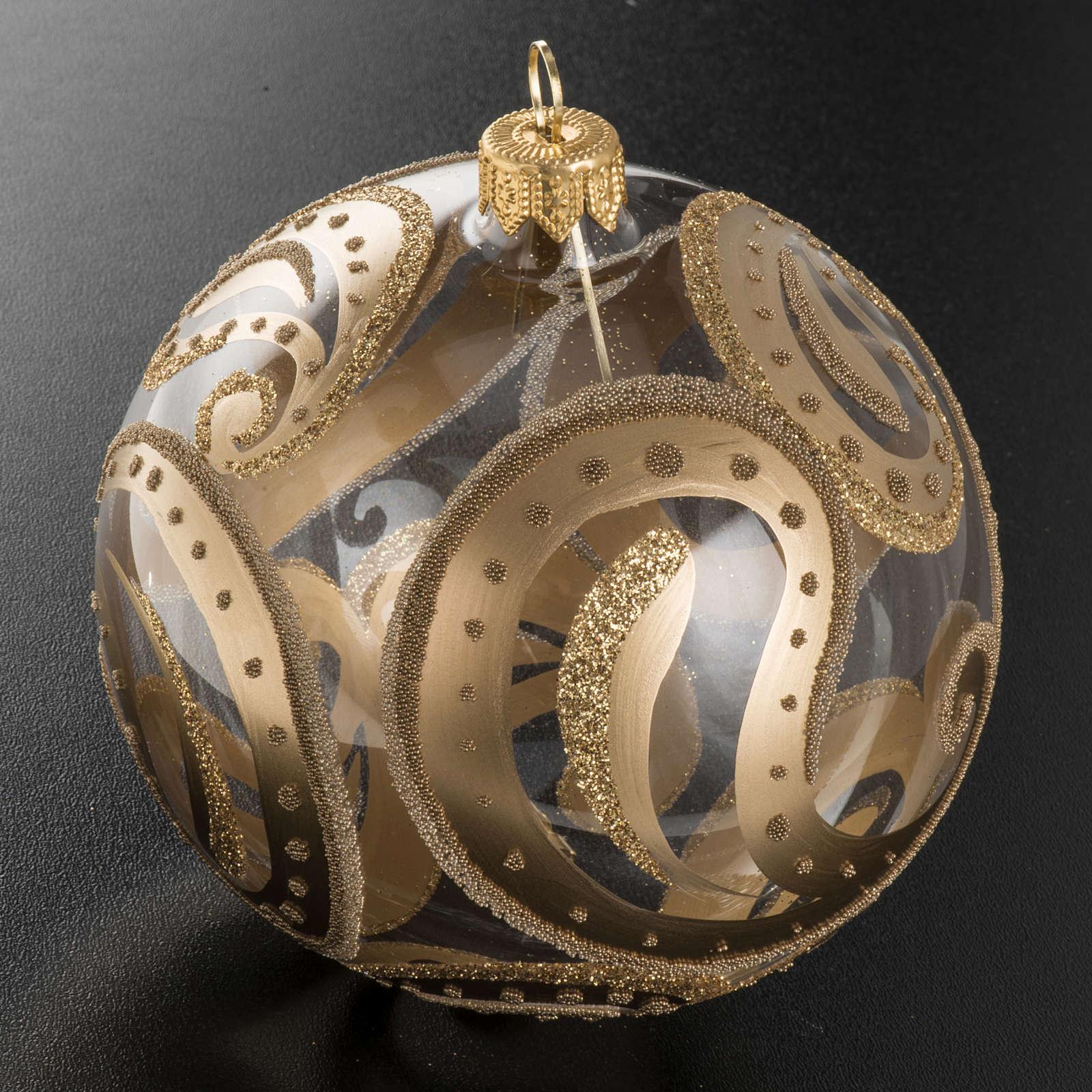 Pallina albero Natale trasparente oro gocce 10cm 4