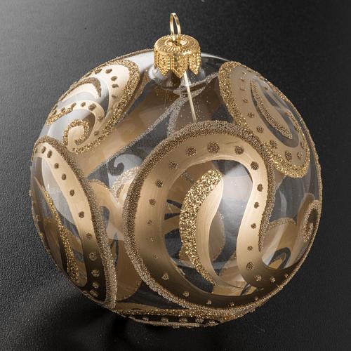 Pallina albero Natale trasparente oro gocce 10cm 2