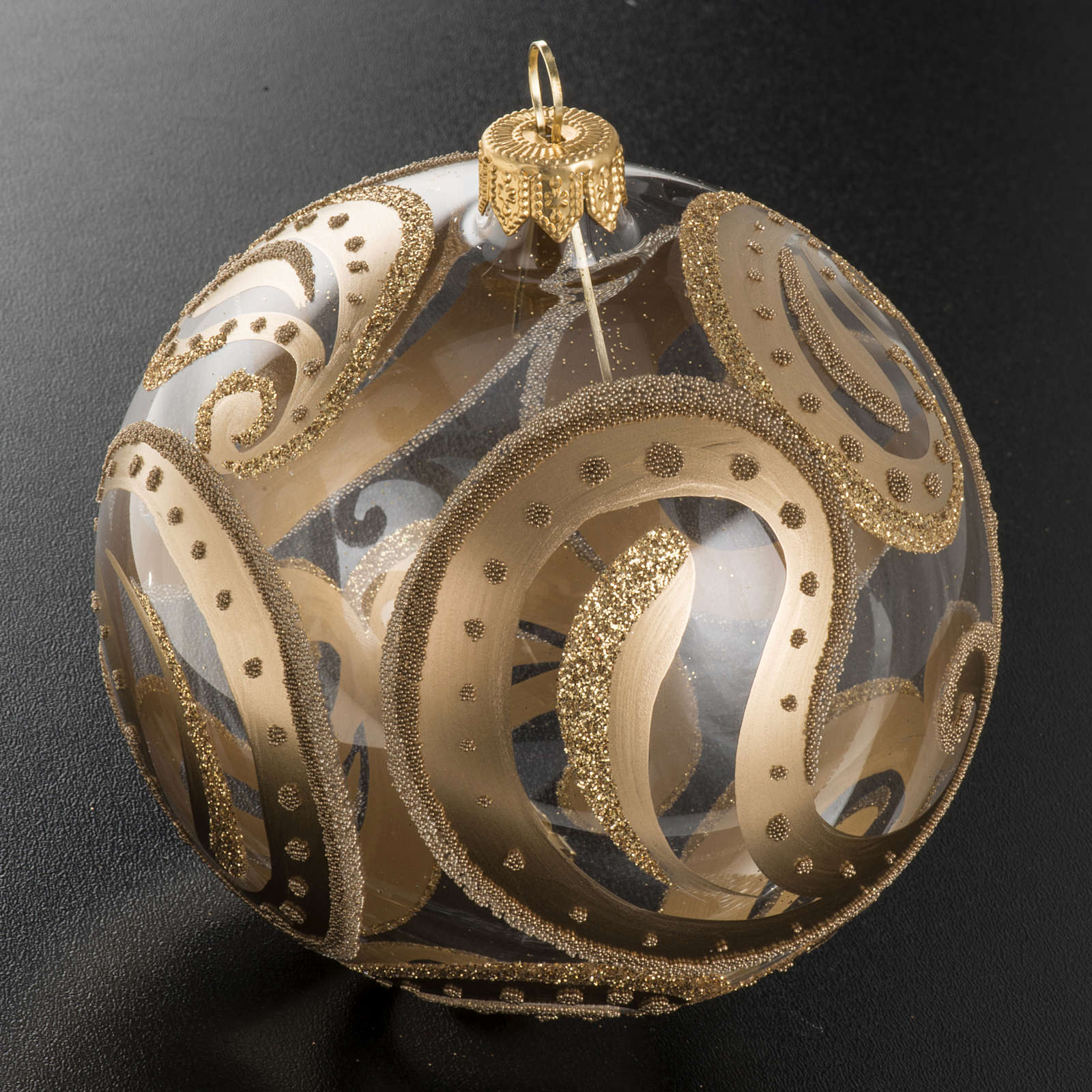 Christmas bauble, transparent with golden drops, 10cm 4