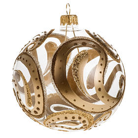 Christmas bauble, transparent with golden drops, 10cm s1