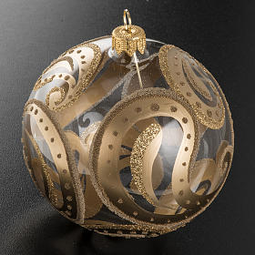 Christmas bauble, transparent with golden drops, 10cm s2