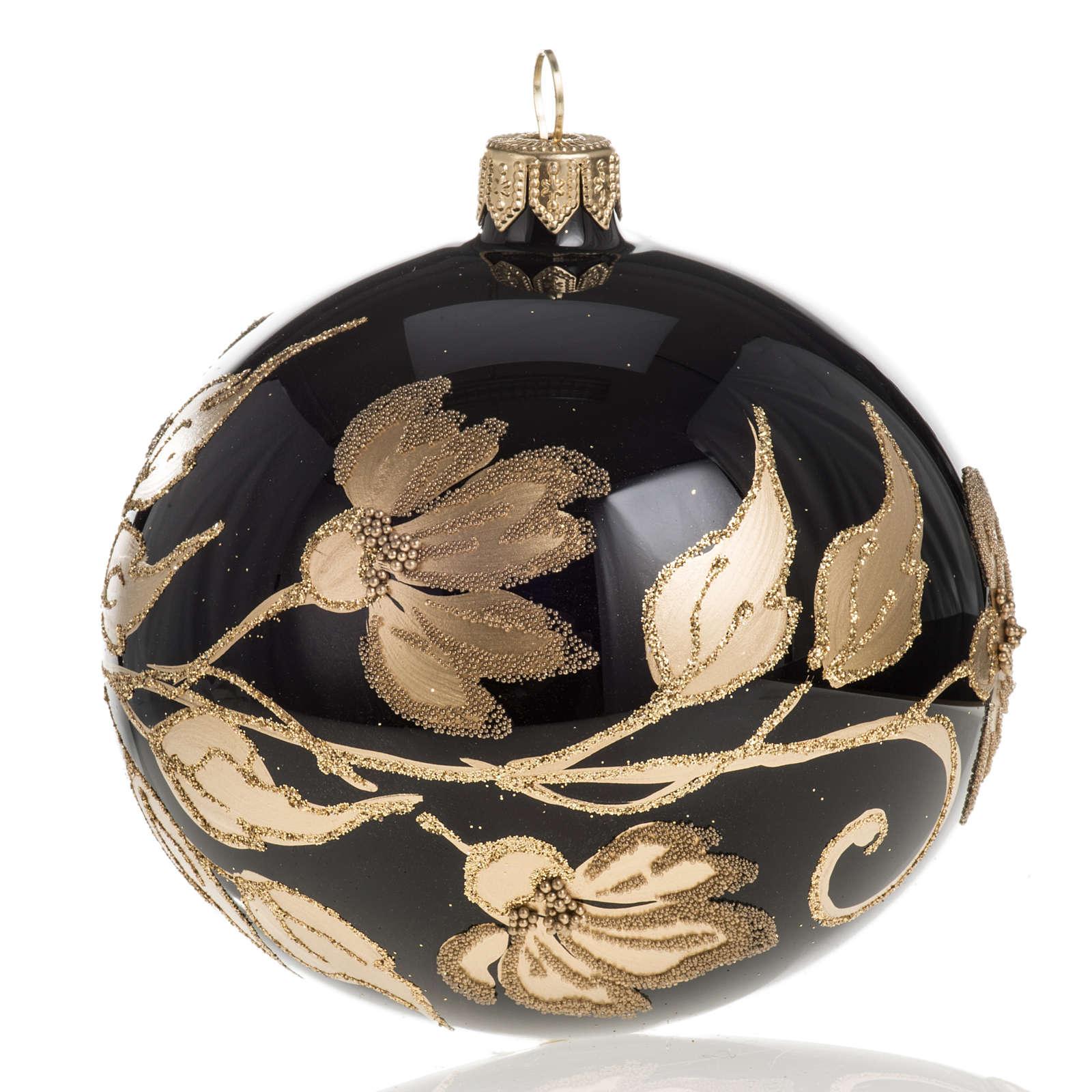 Pallina albero Natale vetro nero decori fiori oro diam 10cm 4