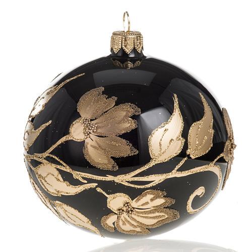 Pallina albero Natale vetro nero decori fiori oro diam 10cm 1