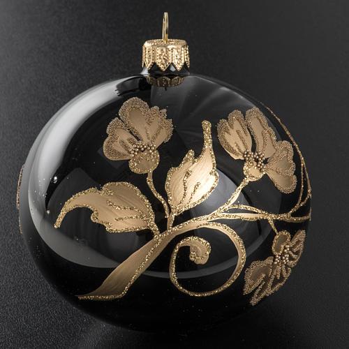 Pallina albero Natale vetro nero decori fiori oro diam 10cm 2