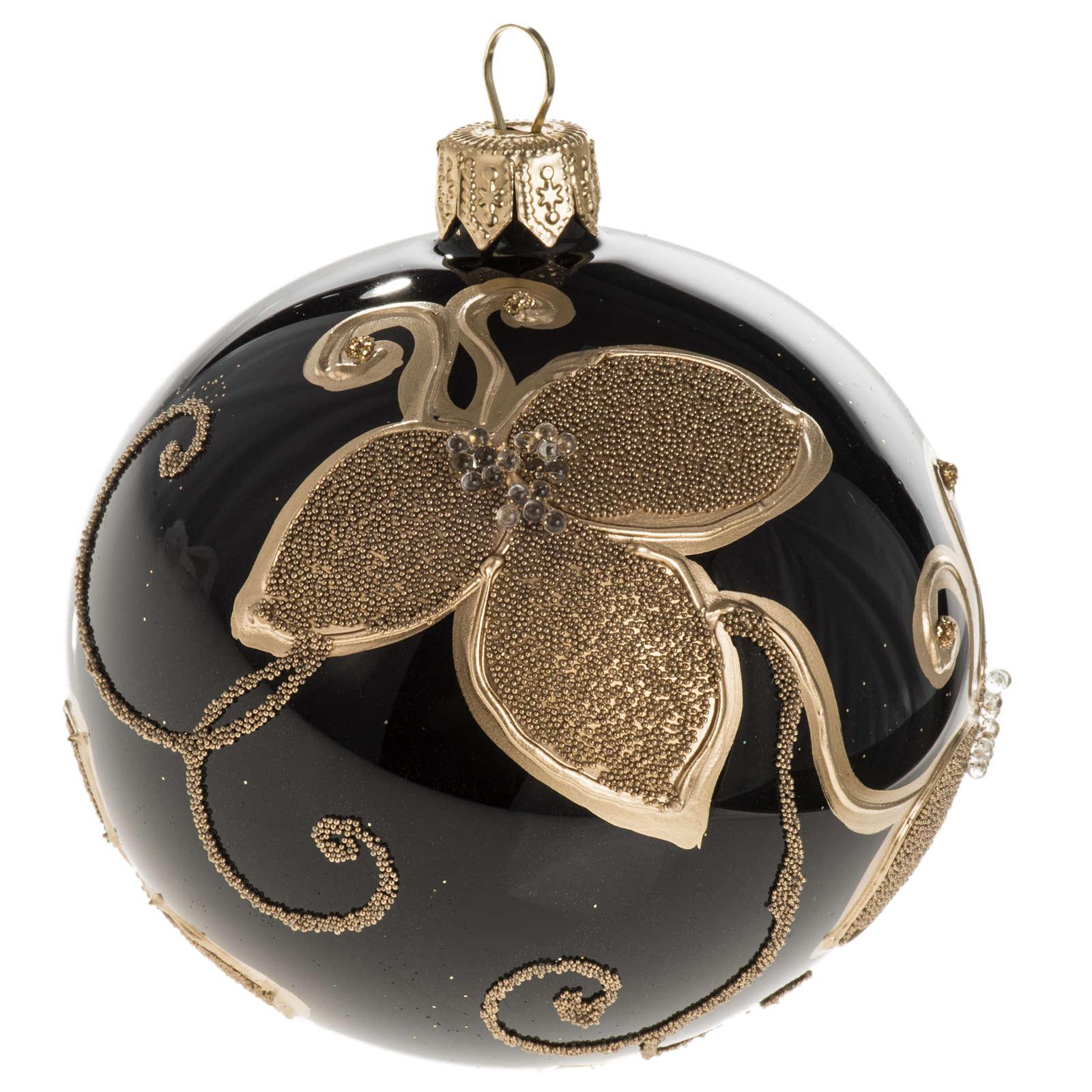 Pallina albero Natale vetro nero decori fiori oro diam 8cm 4