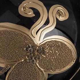 Pallina albero Natale vetro nero decori fiori oro diam 8cm s3