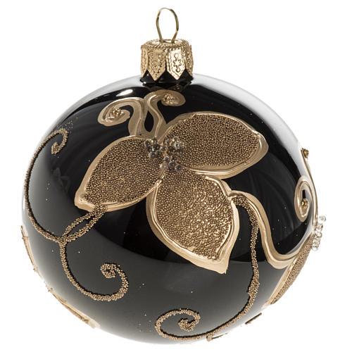 Pallina albero Natale vetro nero decori fiori oro diam 8cm 1