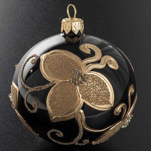 Pallina albero Natale vetro nero decori fiori oro diam 8cm 2