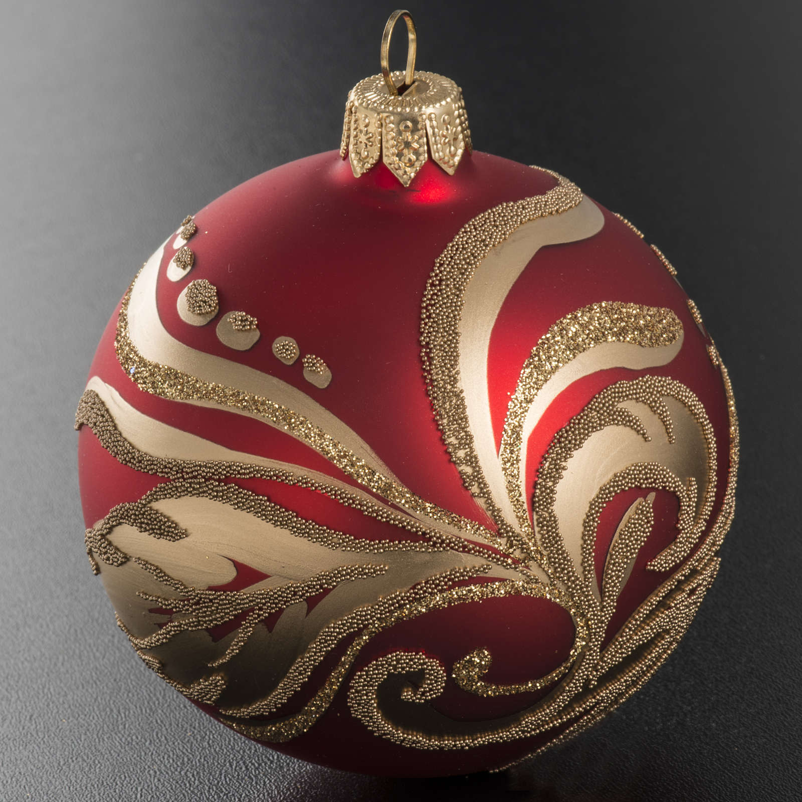 Christmas bauble with artistic gold decorations, 8cm 4